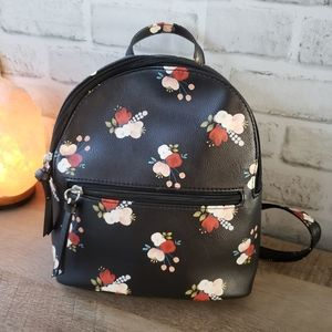 Handbags - NWOT Black floral PU leather mini backpack